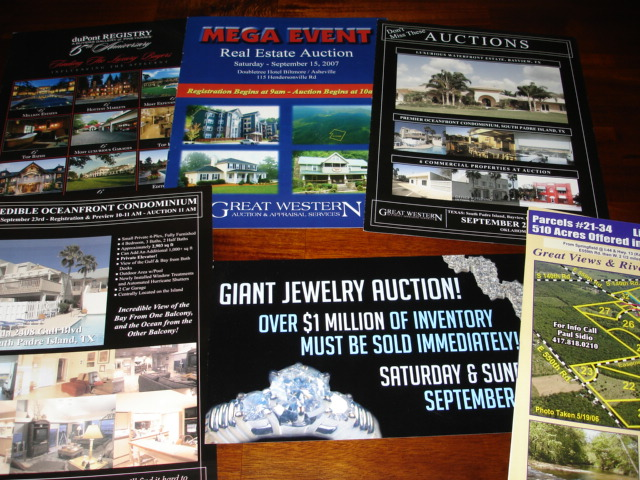 flyers for past GWAAS auctions